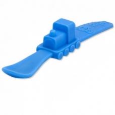 Ложка силиконовая мягкая голубая в форме паровоза, 18 см артикул 840