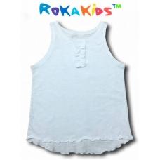 Майка для девочки с жабо (белая) RoKaKids артикул МДЖКр