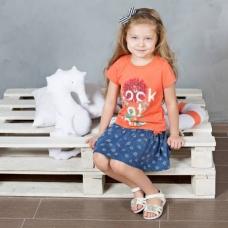 Хлопковая футболка с принтом для девочки Bossa Nova артикул 251Б -165